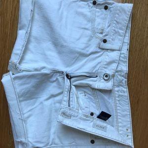 Madewell Raw Hem White Jean Shorts